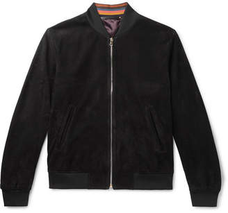Paul Smith Slim-fit Suede Bomber Jacket - Black