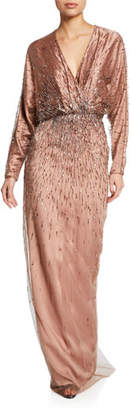 Monique Lhuillier Embroidered Draped Dolman-Sleeve Gown