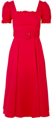 STAUD - Maryann Ruffled Cotton-blend Poplin Midi Dress - Red