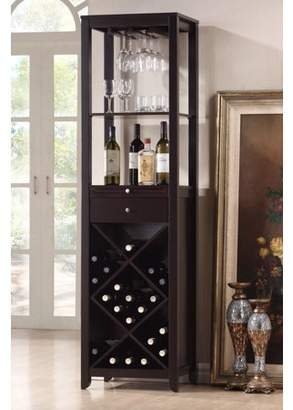 Roundhill Furniture Roundhill Wood Wine Tower Cabinet, Espresso
