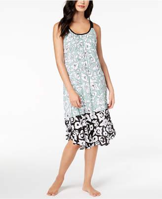DKNY Contrast-Hem Printed Nightgown