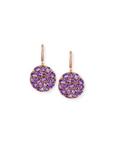 Rina Limor Fine Jewelry Signature 18K Rose Gold Amethyst & Pink Sapphire Round Drop Earrings