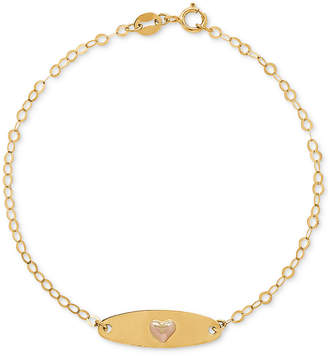 Macy's Children's Heart Plate Link Bracelet in 10k Gold & Rose Gold