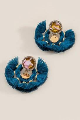 francesca's Elizabeth Tassel Fan Statement Earrings - Teal