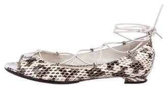 Manolo Blahnik Snakeskin Flat Sandals White Snakeskin Flat Sandals