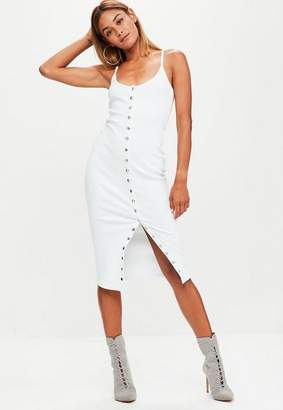 Missguided White Strappy Ribbed Popper Midi Dress