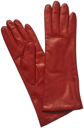 Portolano Long Just Orange Cashmere-Lined Leather Gloves