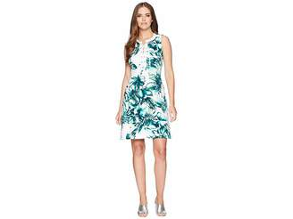 Chaps Leaf-Print Cotton Sleeveless Dress Women's Dress