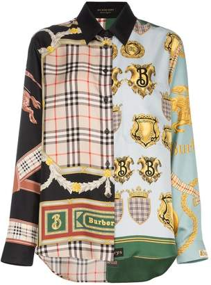 Burberry scarf patchwork print silk shirt