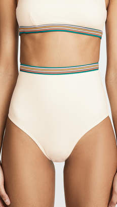 3f07860a42 Madewell Second Wave Rainbow-Trimmed Retro High-Waisted Bikini Bottoms