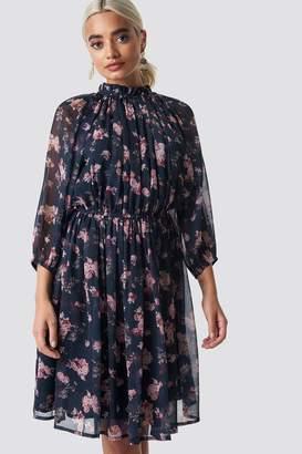 Na Kd Boho High Neck Elastic Waist Puff Dress Dark Blue Flower