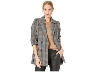 AVEC LES FILLES Plaid Double-Breasted Blazer Women's Coat