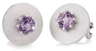 Breuning Sterling Silver Prong Set Purple Amethyst Round Flat Disc Earrings