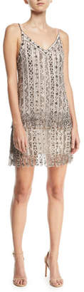 Haute Hippie Wild Rose Embellished Tulle Mesh Mini Cocktail Dress