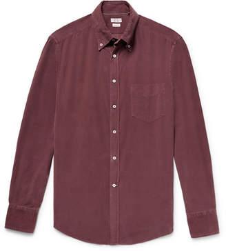 Brunello Cucinelli Button-Down Collar Garment-Dyed Cotton-Corduroy Shirt