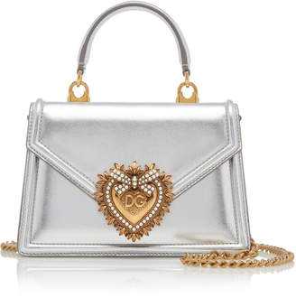 Dolce & Gabbana Embellished Metallic Leather Shoulder Bag