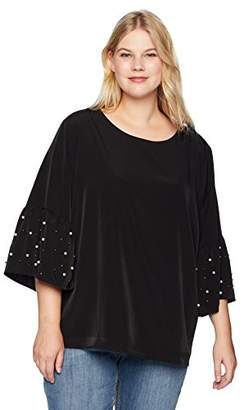 e6cce55f235ee0 Calvin Klein Women s Plus Size Bell Sleeve Blouse with Pearls