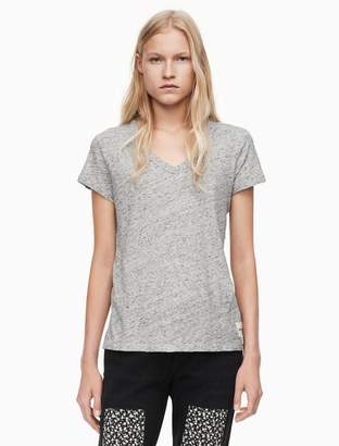 Calvin Klein cotton slub v-neck logo t-shirt