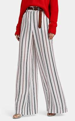 Martin Grant Women's Striped Crepe Wide-Leg Trousers - Blue, Wht, Rd