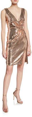 Sho Sequin Sleeveless Mini Wrap Dress