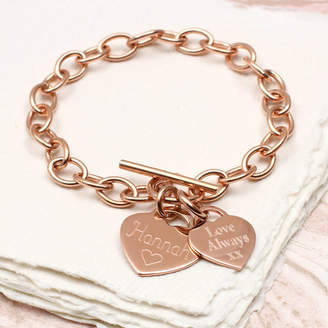 3e53bca40d7 Charm   Chain Hurleyburley Personalised Rose Or Yellow Gold Charm Chain  Bracelet