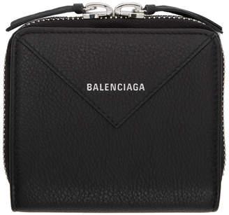 Balenciaga (バレンシアガ) - Balenciaga ブラック スクエア ペーパー ジップ アラウンド ウォレット
