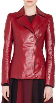 Akris Punto Zip-Front Patent Leather Biker Jacket