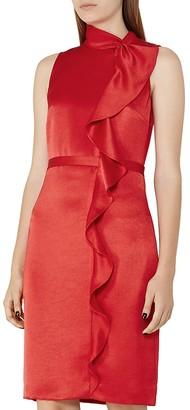 REISS Lola Ruffled Satin Dress $360 thestylecure.com