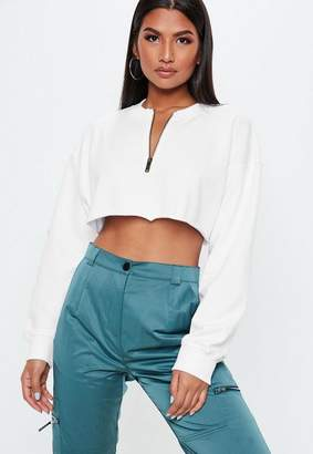 Missguided White Petite Oversized Zip Front Crop Sweatshirt