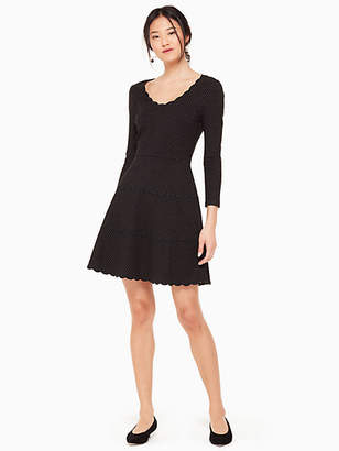 Kate Spade Pin dot scallop ponte dress