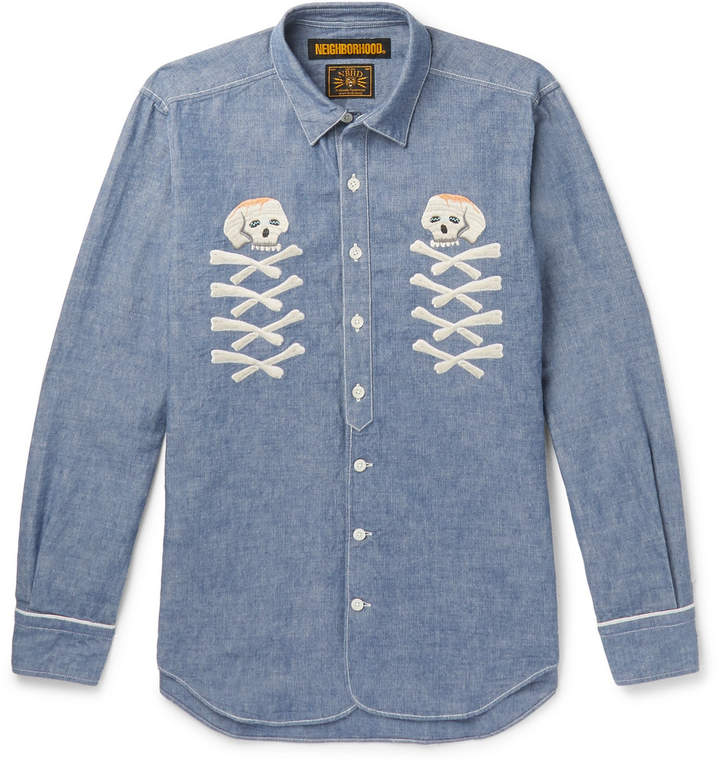 Embroidered Cotton-Chambray Shirt