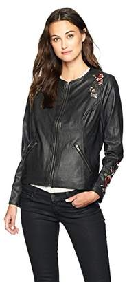 Lysse Women's Embroidered Vegan Leather Jacket