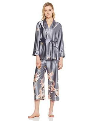 MEHEPBURN Women's Long Sleeve Silk Satin Pajamas Set Sleepwear 2Pcs Floral9 M