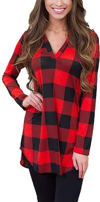 QiuLan Women's Long Sleeve V Neck Loose Plaid Top Blouse Irregular Hem Shirt Tunic