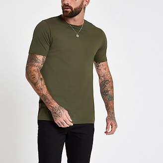 River Island Dark green longline crew neck T-shirt