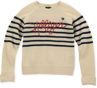Tommy Hilfiger Big Girls Striped Logo Sweater