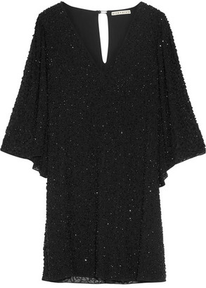 Alice + Olivia Alice Olivia - Shary Embellished Chiffon Mini Dress - Black $645 thestylecure.com