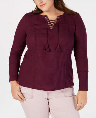 Style&Co. Style & Co Plus Size Lace-Up Thermal Top