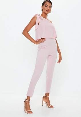 Missguided Pink One Shoulder Bow Romper