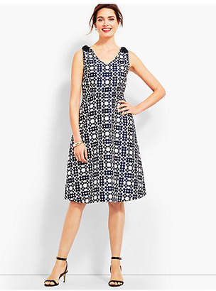 Talbots Jacquard Daisy-Print Fit & Flare Dress