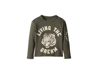 Chaser Kids Super Soft Living The Dream with Tiger Face Long Sleeve Tee (Toddler/Little Kids)