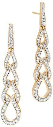 John Hardy 18K Yellow Gold Classic Chain Pavé Diamond Long Drop Earrings