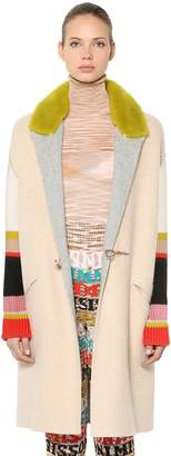Missoni Alpaca Wool Blend Coat W/ Fur Collar