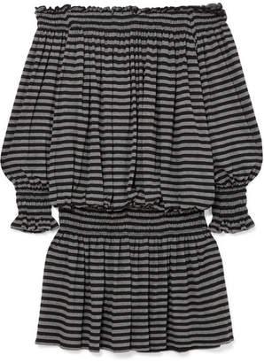 Norma Kamali Off-the-shoulder Striped Stretch-jersey Mini Dress - Charcoal
