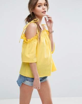 ASOS Cold Shoulder Top in Cotton with Tie Shoulder $40 thestylecure.com