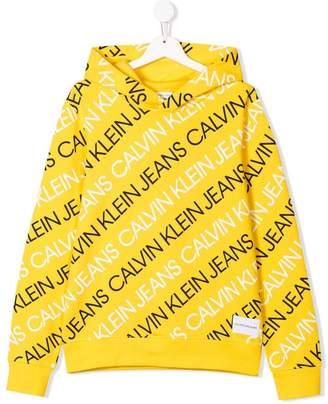 Calvin Klein Kids TEEN multi logo hoodie