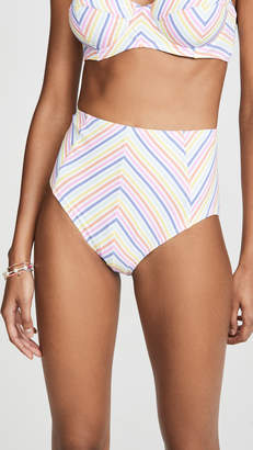 Kate Spade Beach Stripe High Waist Bikini Bottoms