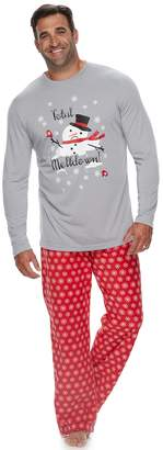 "Big & Tall Jammies For Your Families Snowman & Snowflakes ""Total Meltdown"" Top & Microfleece Bottoms Pajama Set"