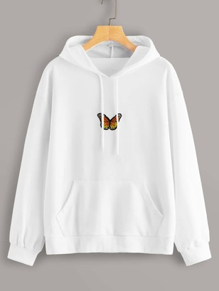Shein Butterfly Patched Drawstring Hooded Sweatshirt