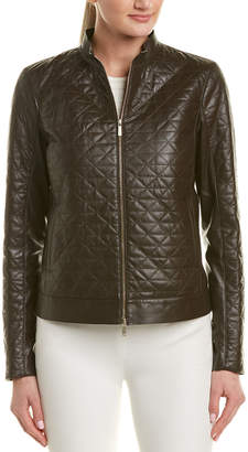 Lafayette 148 New York Turtleneck Leather Jacket